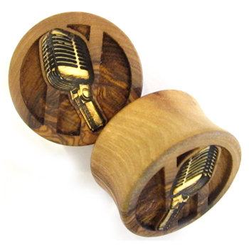 Olivewood Plugs with Microphone Inlays