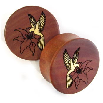 Pink Ivory Plugs with Hummingbird Inlays