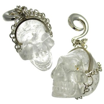 Silver and Quartz Crystal Skull Weights