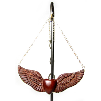 Silver and Bloodwood Wings of Glory Necklace