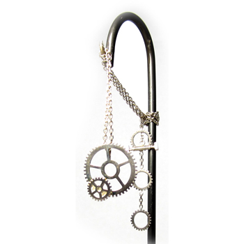 Silver Double Cog Necklace