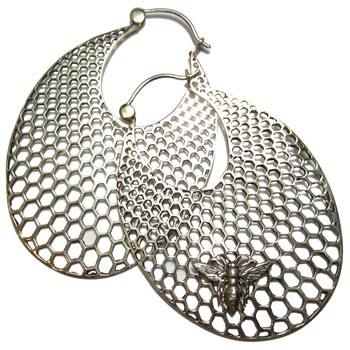 Silver Honeycomb with Bee Hoops