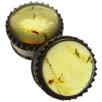 Silver and Amber Ornate Plugs