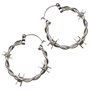 Silver Plated Barbed Wire Hoops