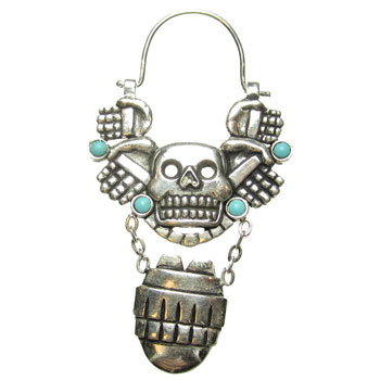 Silver Plated Olmec with Turquoise