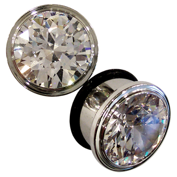 Surgical Steel Single Flare CZ Plugs
