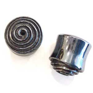 Hematite Plugs with Carved Spiral Inlays
