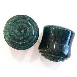 Ruby Azurite Plugs with Carved Spiral Inlays