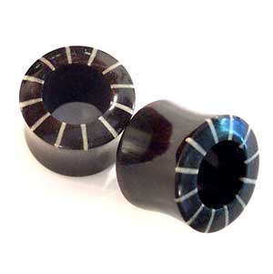 Black Horn Eyelets with Stripe Inlays