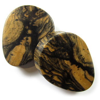 Tiger Ebony Teardrop Plugs