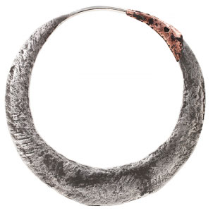 Silver and Copper Junk Punk Hoops