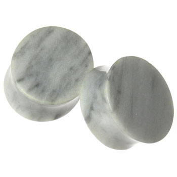 White Marble Oval Plugs
