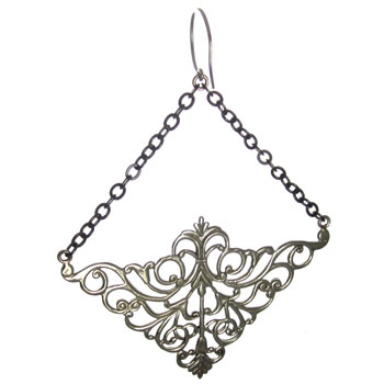 Silver Plated Nouveau Chain Earrings